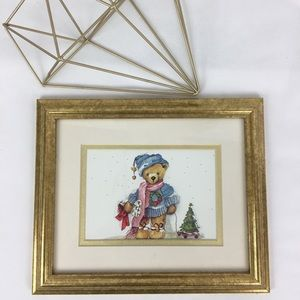 Adorable Holiday Teddy Bear Print Matted & Framed